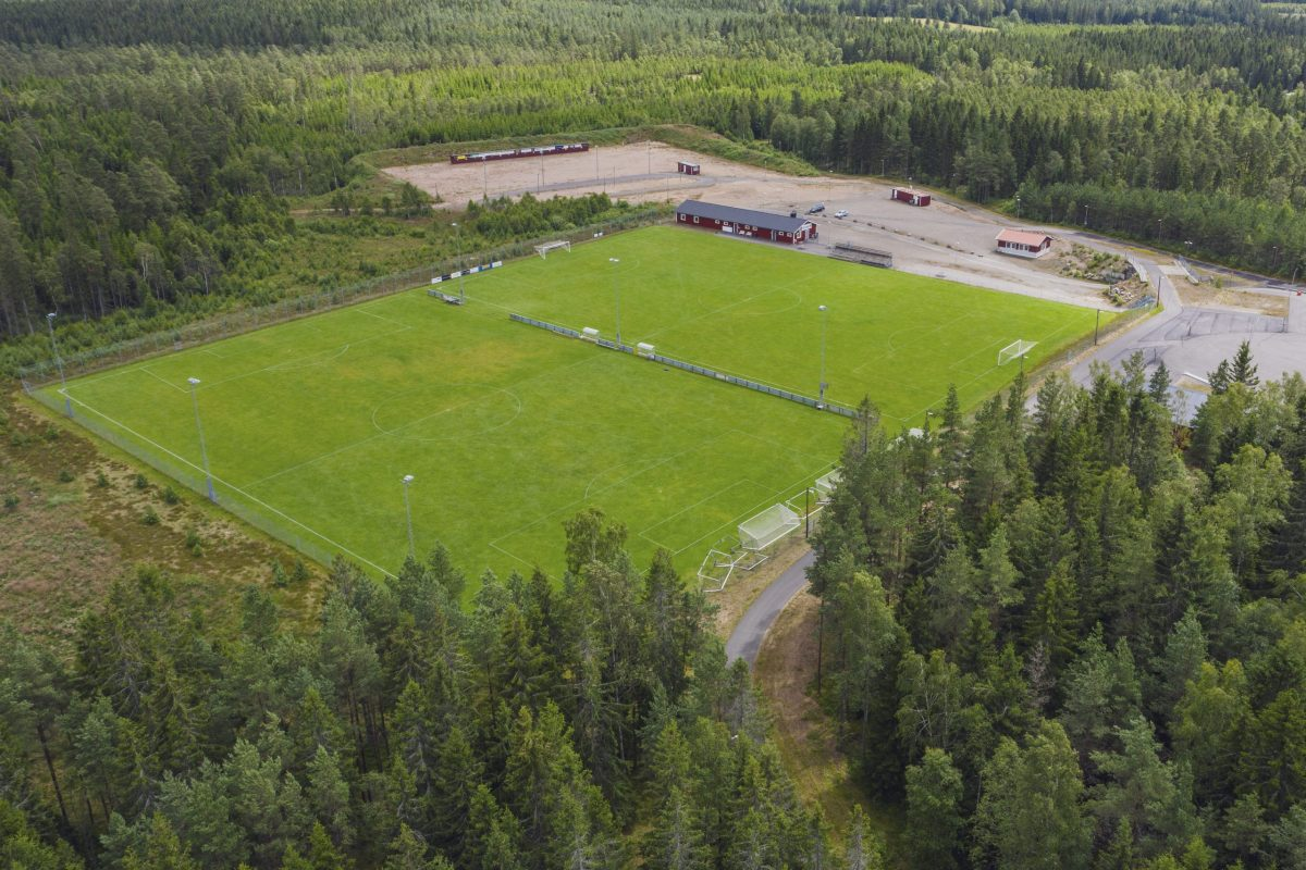 Ätrans Idrottsplats med två fullstora fotbollsplaner